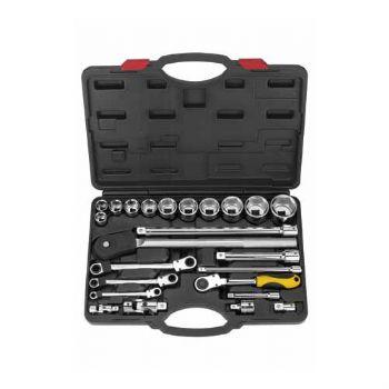 25 PCS—1/2''&3/4'' Dr. Professional hand socket & gear wrench set